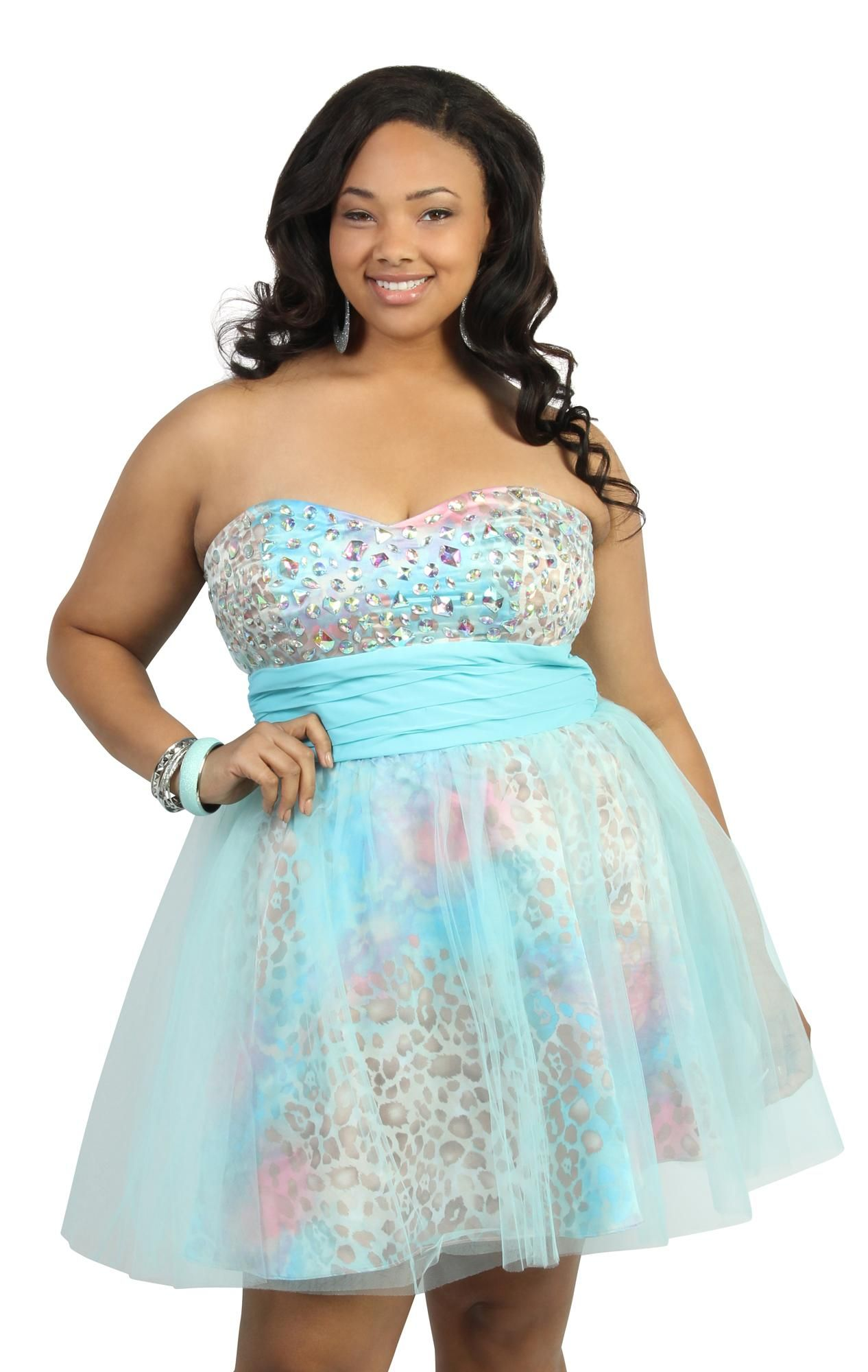 Deb Shops plus size #prom strapless party dress with iridescent ...