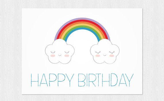 Funny Happy Birthday Card DIY Greeting card Clouds and rainbow – Birthday Card Pdf