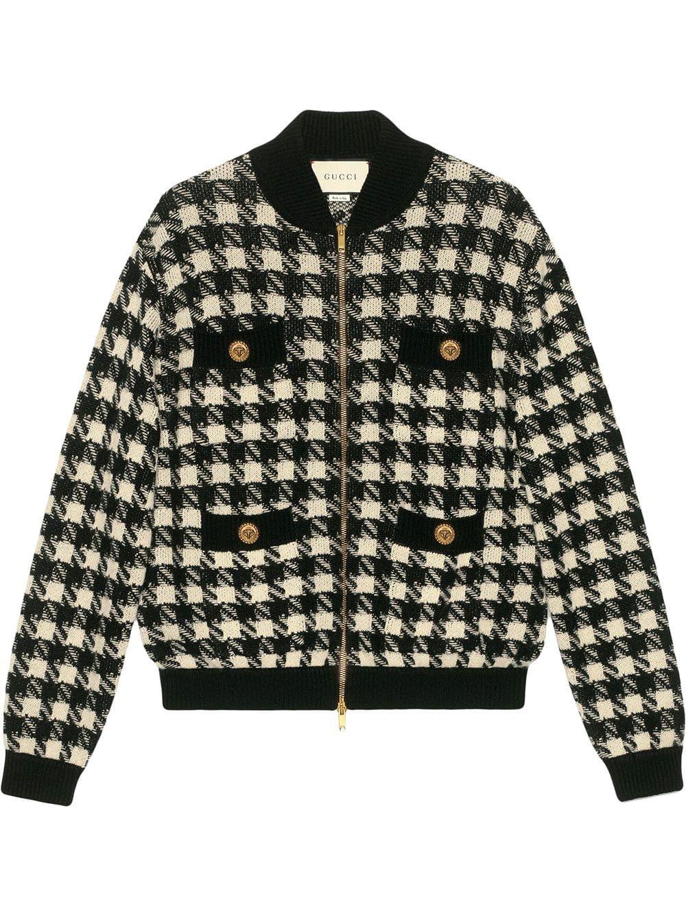 Gucci Houndstooth Pattern Bomber Jacket Farfetch Gaya Busana Gaya Model Pakaian Gaya Berpakaian [ 1334 x 1000 Pixel ]
