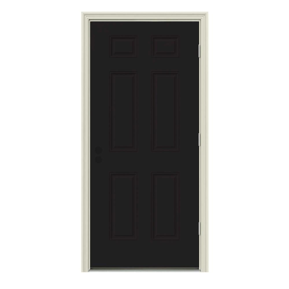 Jeld Wen 30 In X 80 In 6 Panel Black Painted W White Interior Steel Prehung Left Hand Outswing Front Door W Brickmould Black White White Paneling House Styles White Paints