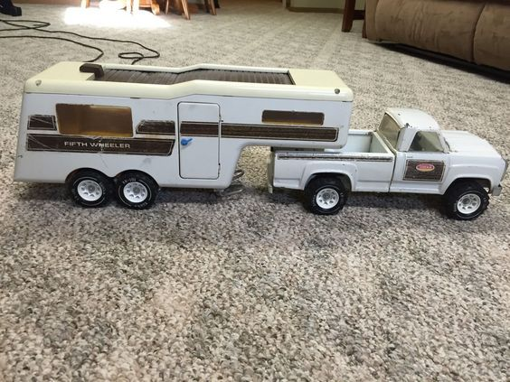 Vintage Metal Toy Truck With Trailer
