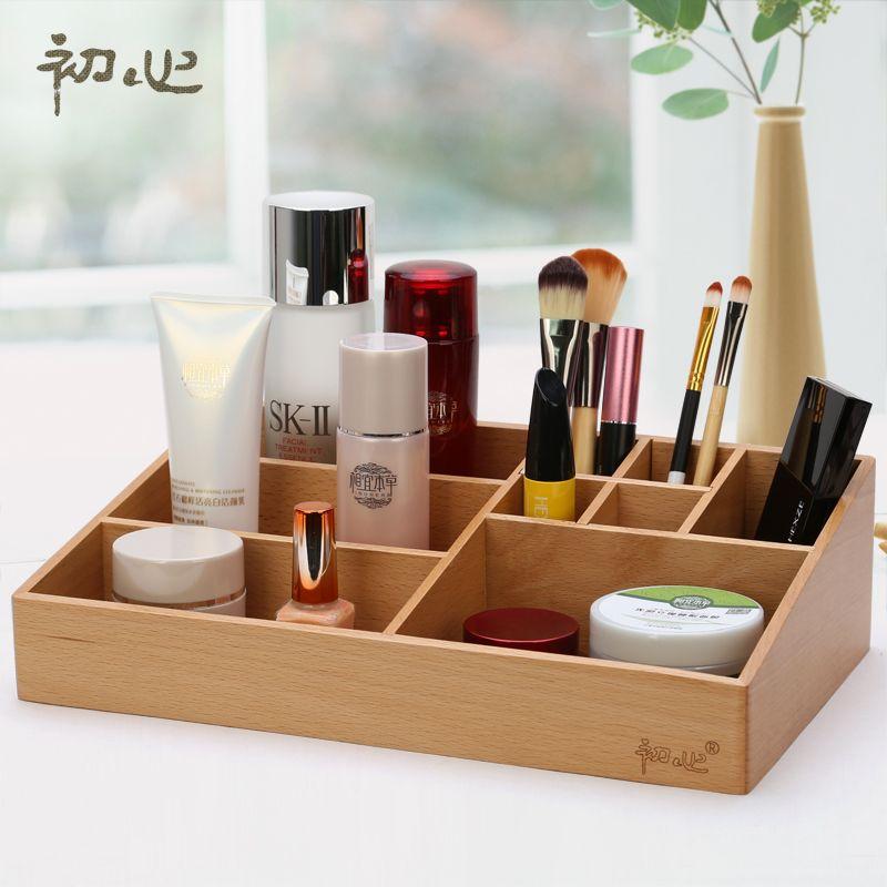 High Quality Beech Soild Storage Box Wooden Tabletop Makeup Organizer For  Lipstick Perfume Nail Polish Holders