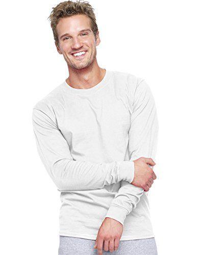 f27d033de65531 Hanes Beefy-t Mens Long-sleeve T-shirt 5186 M White   Shirt (Must ...