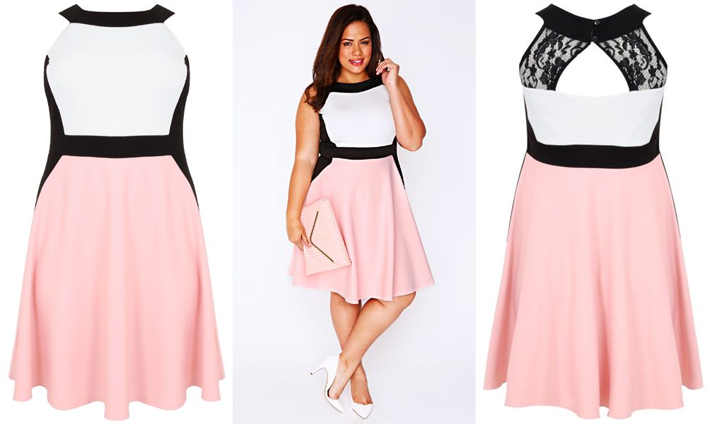 c036ee8558c  PlusModelMag Plus Size Fashion Find of The Day  Color Block Skater Dress  From Yours Clothing  PlusModelMag