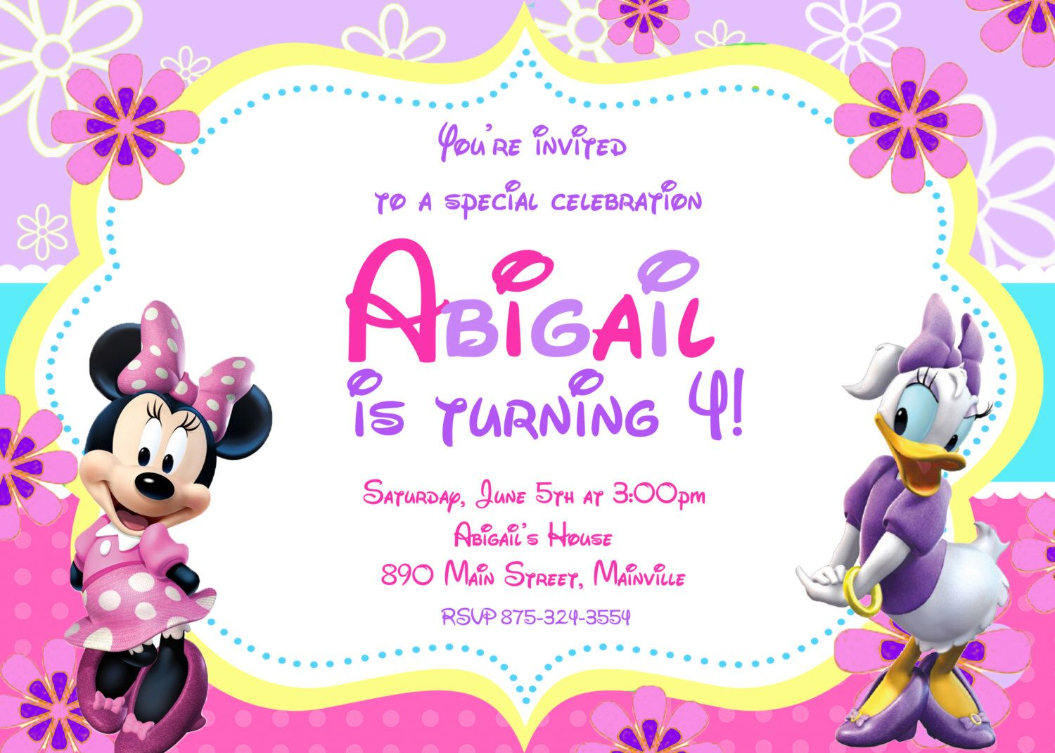 Minnie Mouse Daisy Duck Birthday Party Invitation