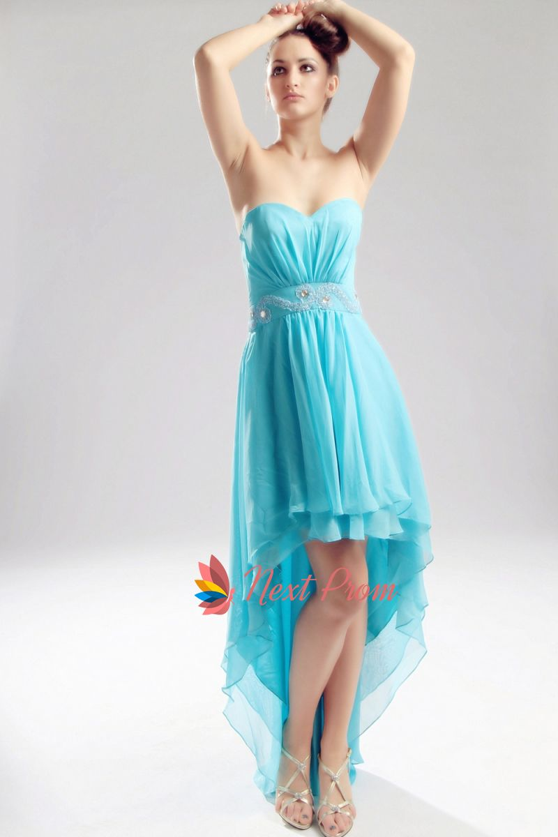 Aqua Blue High Low Dress, Chiffon Strapless Sweetheart Prom Dress, Strapless  Chiffon High Low Prom Dress With Beading, Aqua Blue Strapless Prom Dress