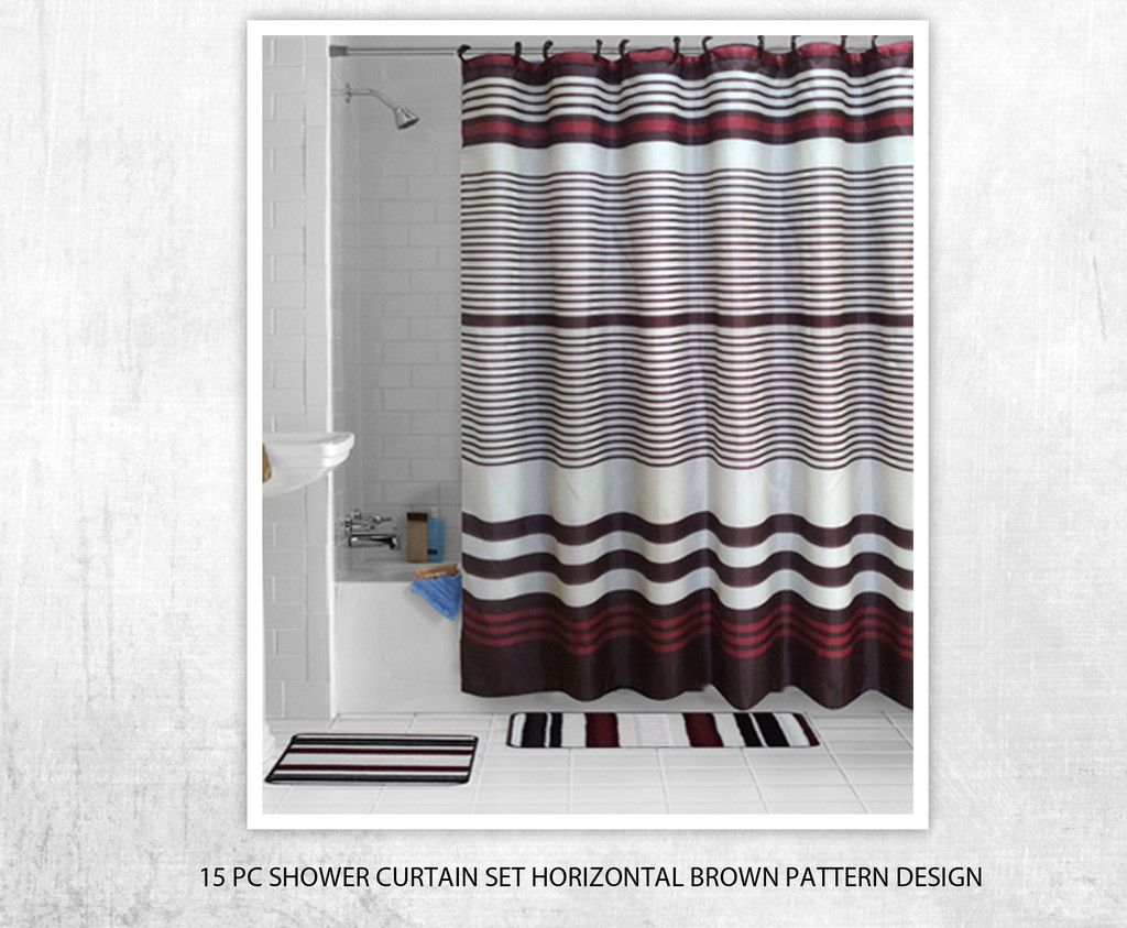 15 Piece Bath Set Brown Horizontal Pattern Design