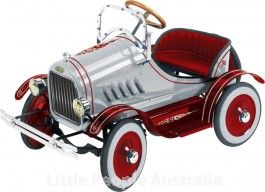Silver Model T Ford Kids Automotive Pedal Car Cyclops