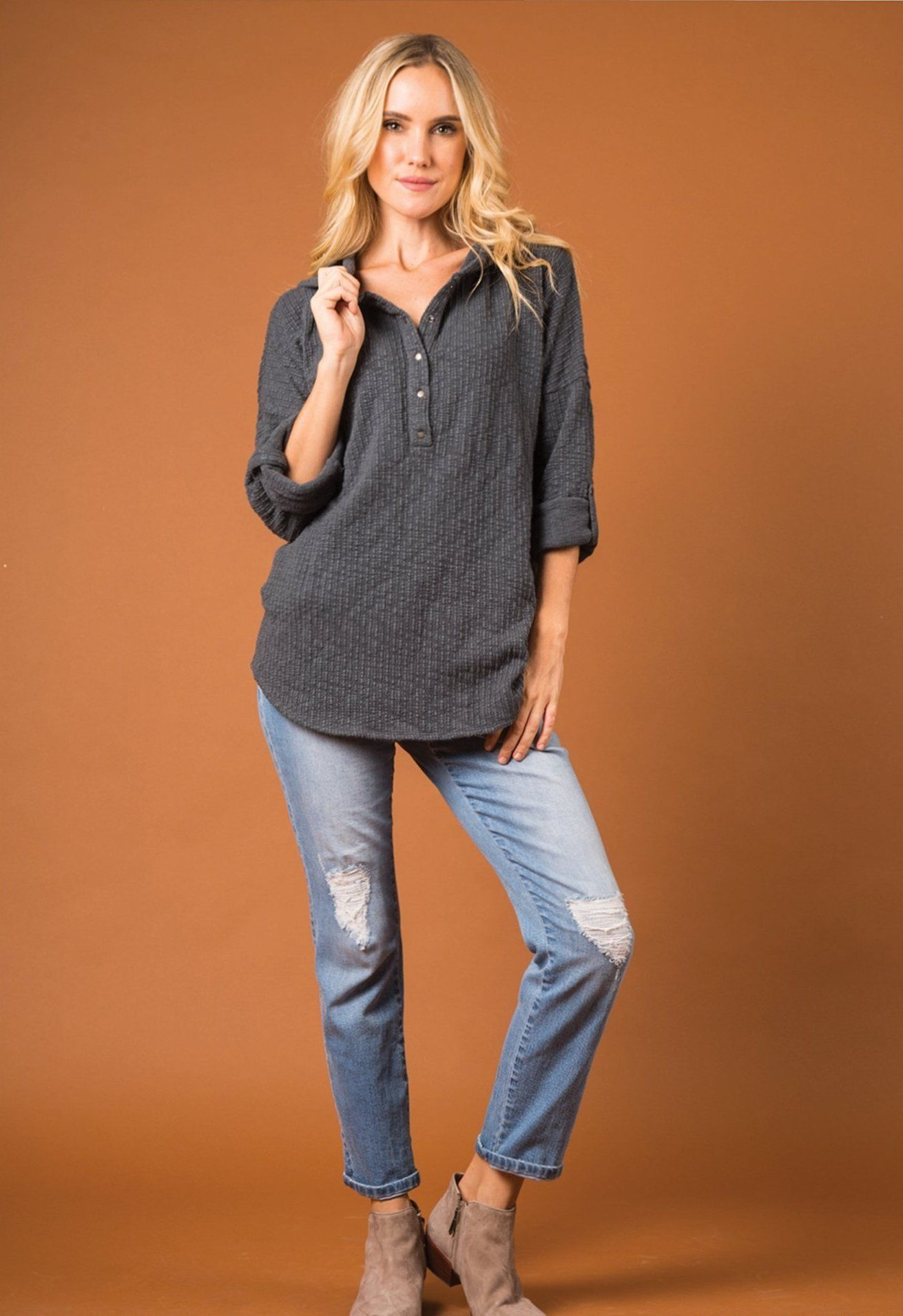 "Simply Noelle Women/'s /""Woodland Pine/"" Cotton Blend Top"