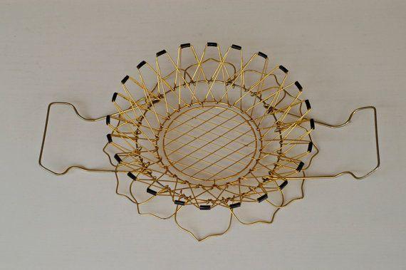gold wire basket / french vintage folding basket / by BOULOTDODO