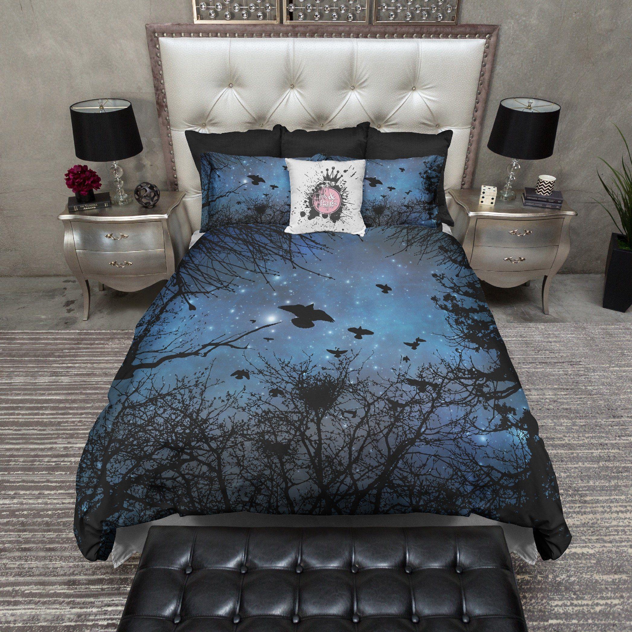Black Crows In Flight Night Sky Bedding Bed Duvet Bedding Sets
