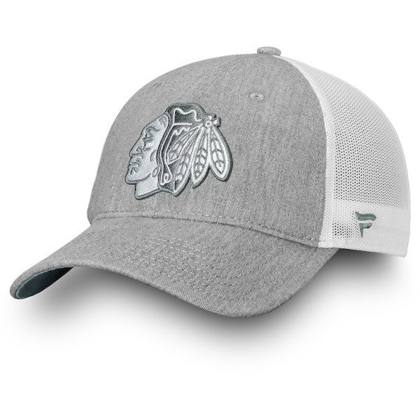 1386dc13 Chicago Blackhawks Fanatics Branded Lux Slate Trucker Adjustable Hat Gray  #ChicagoBlackhawks
