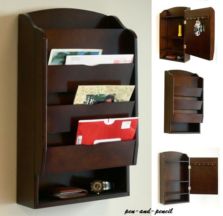 Details About Letter Mail Wall Rack Mount Storage Organizer Holder Key Wood Bill Office Home Mail Organizer Wall