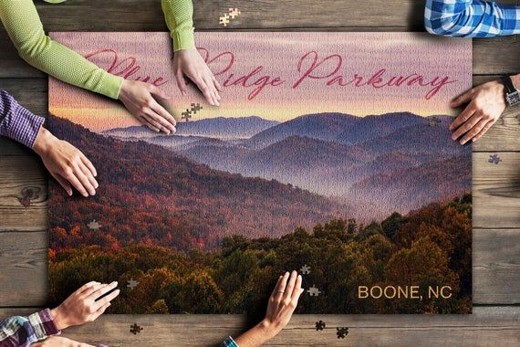 Boone, North Carolina - Blue Ridge Parkway - Sunset 97310 (20x30 Premium 1000 Piece Jigsaw Puzzle, M