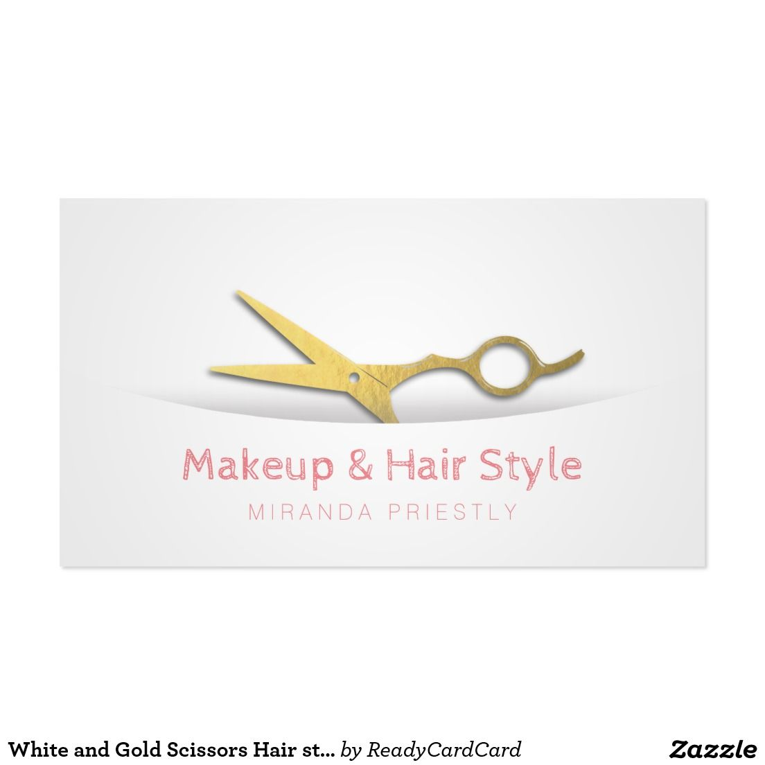 White and Gold Scissors Hair stylist Makeup Artist Business Card ...