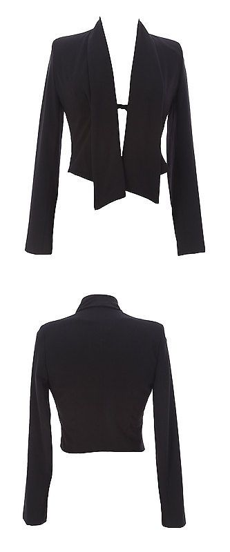 Suits and Blazers 108898  9Fashion Maternity Women S Avril Black Cropped Hi-Low  Blazer ef75ae8af
