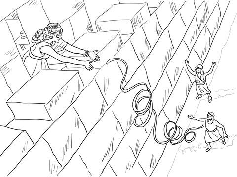 Rahab Helps The Spies Coloring Page From Joshua Category Select 24104 Printable Crafts Of