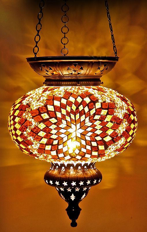 Large Turkish Moroccan Hanging Glass Mosaic Lamp Lighting Candle Home
