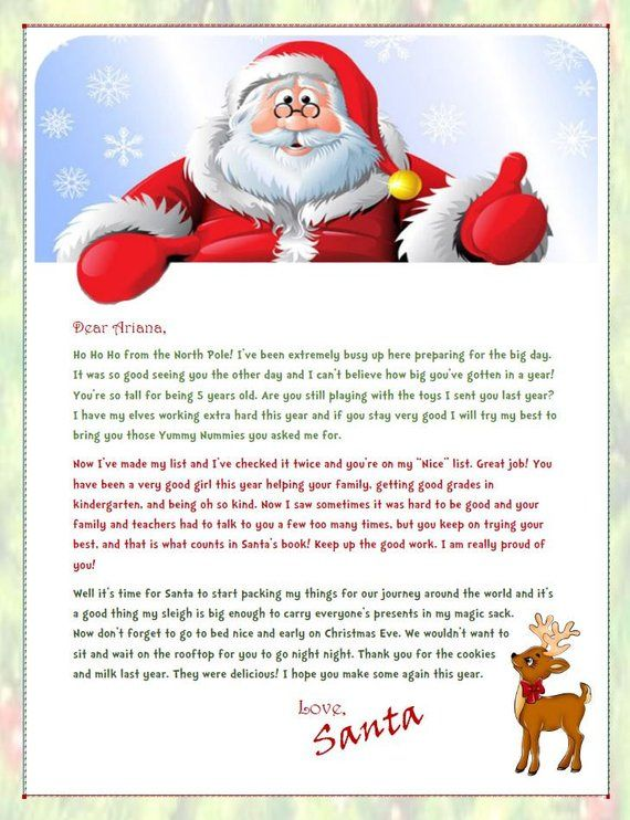 Personalized Santa Letters  Santa Letter to Kids  Christmas