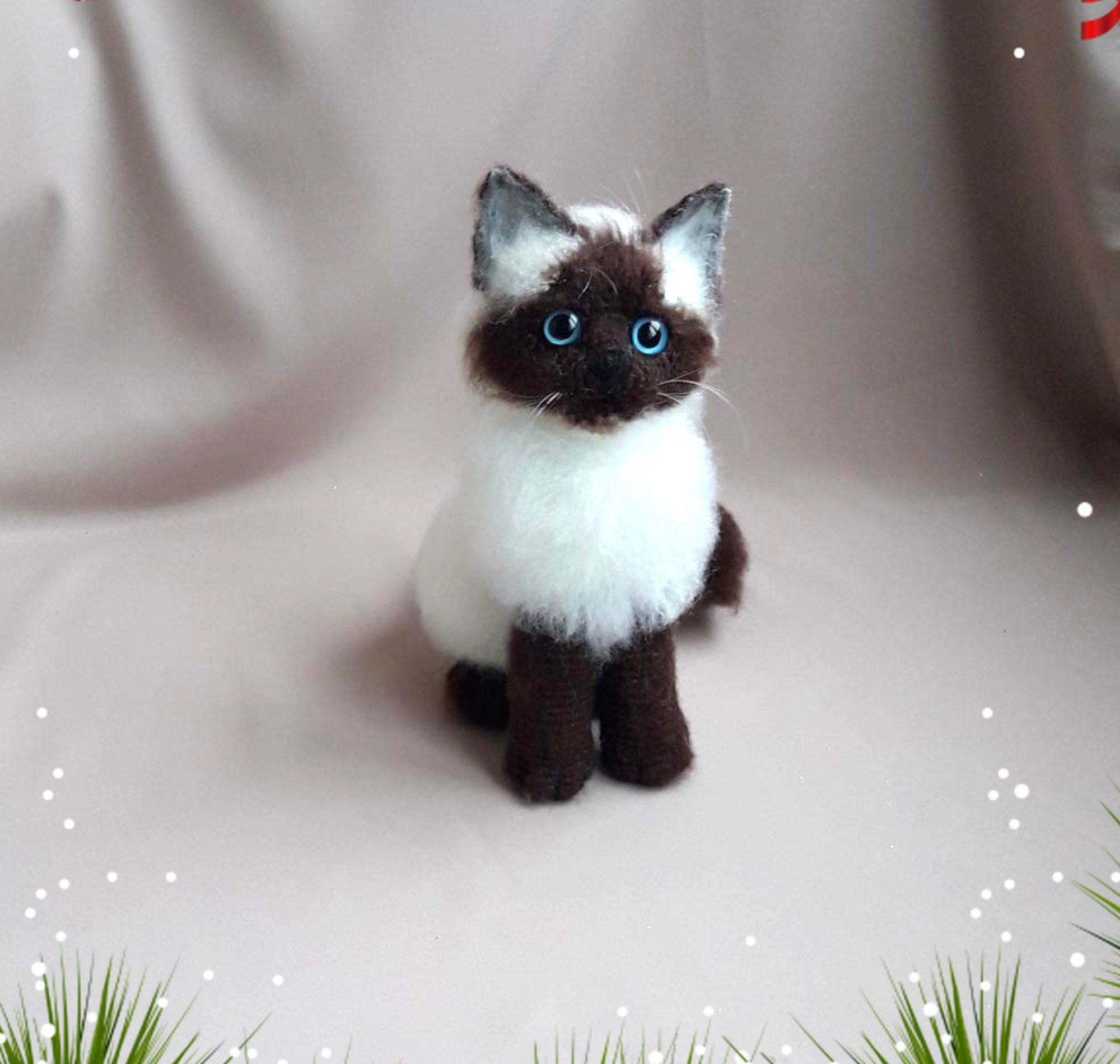 siamese cat crochet toy White fluffy cat cute fluffy kittens plush cat realistic cat Miniature cats