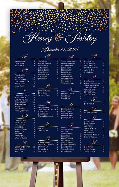 Wedding seating chart rush service gold polka dots confetti sprinkle navy poster digital printable file hbc also rh pinterest