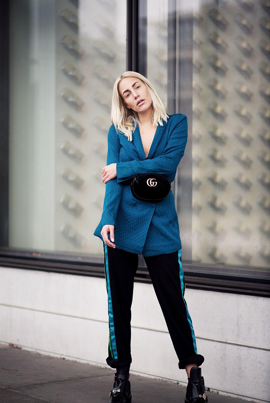 Fashion Blogger Sequinsophia From Theskinnyandthecurvyone Gucci Meitaviamp039s Kulot Denim Midi Culottes Belt Bag Gestuz Blazer Look Outfit