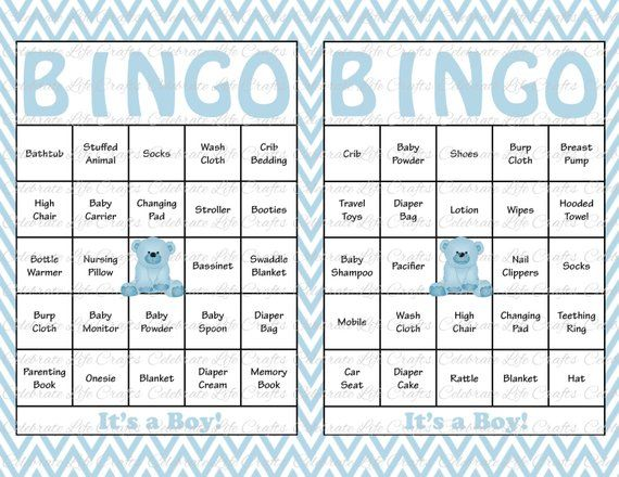 30 Baby Shower Bingo Cards Printable Party Baby Boy Instant