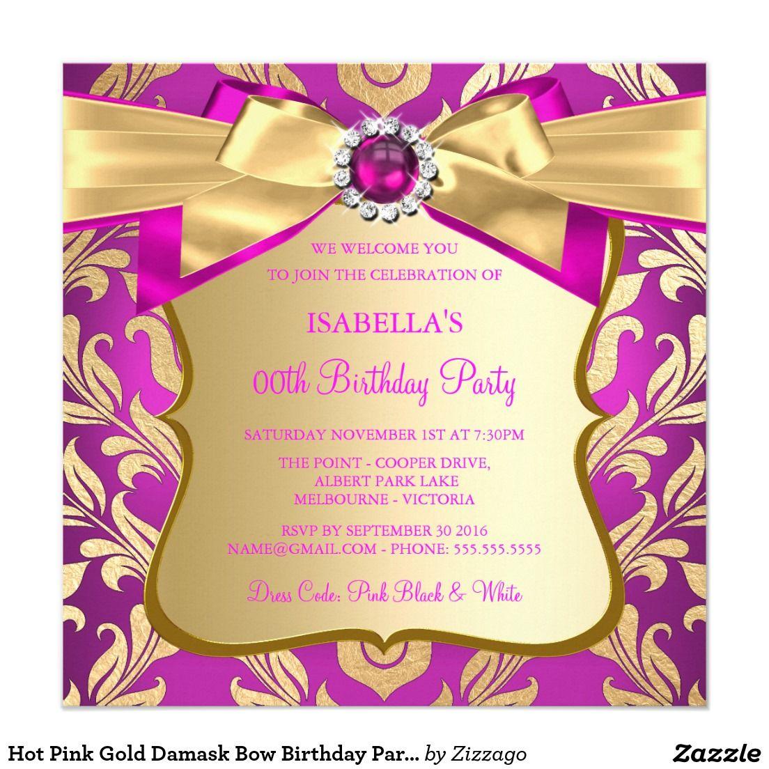 Hot Pink Gold Damask Bow Birthday Party Invite 2 | Birthdays, Girl ...