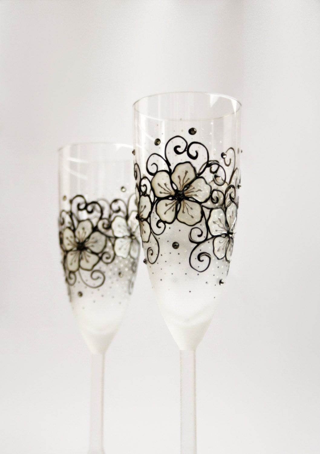 Champagne Flutes Wedding Toasting Hand Painted Personalized Set Of 2 Black White Fl Design Diomond