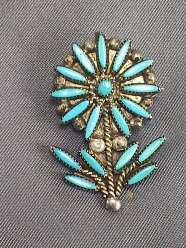 NATIVE AMERICAN ZUNI SILVER & TURQUOISE NEEDLPOINT FLOWER BROOCH/PIN/PENDANT in Jewellery & Watches, Ethnic & Tribal Jewellery, Native American | eBay