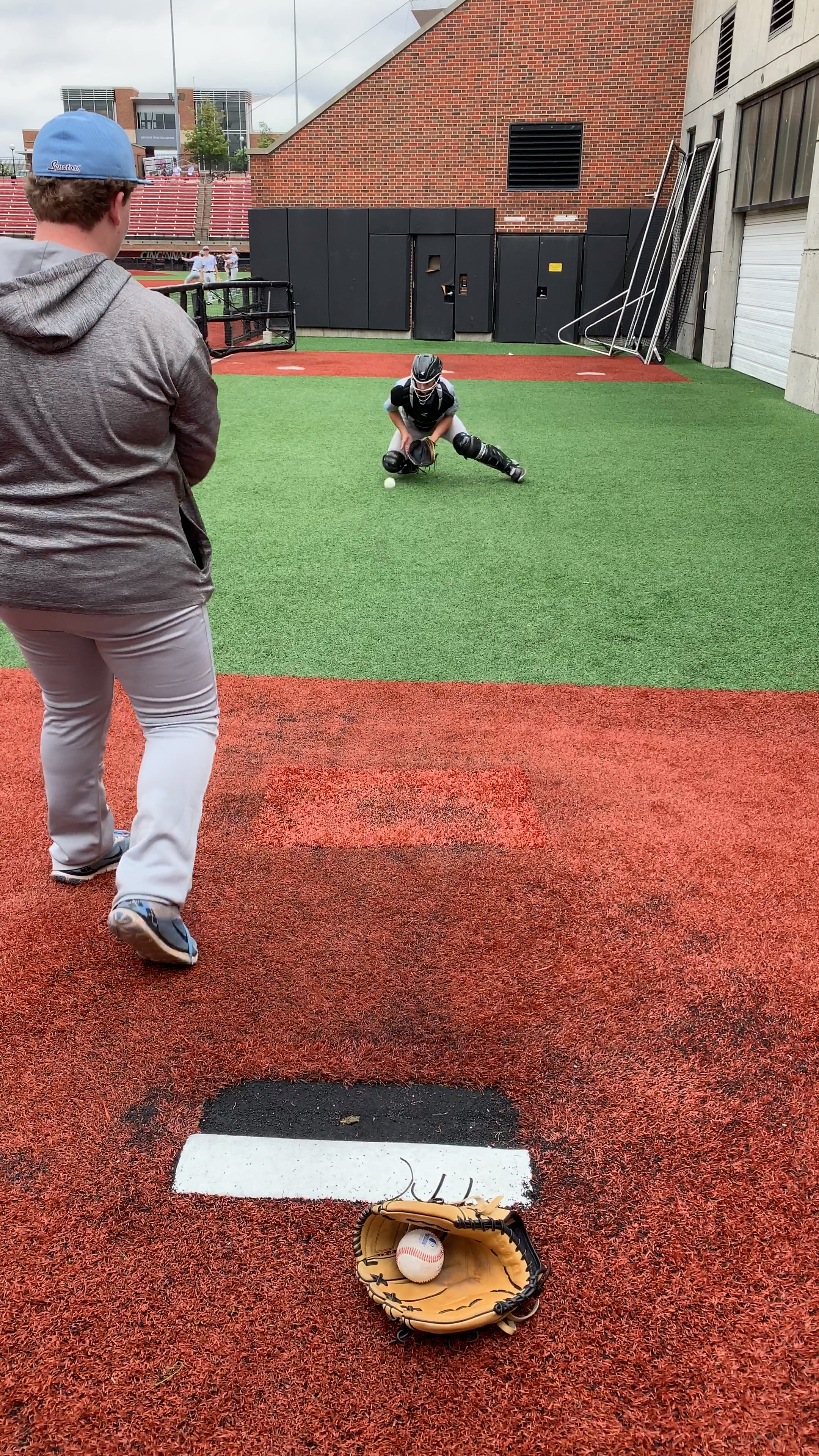 Watch One Of Our Catchers Blocking In Pregame Visit My Youtube Channel For More High Level Baseball Instruction Video Baseball Tips Baseball Softball Training