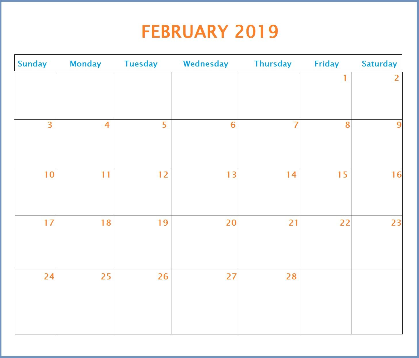 Feb 2019 Calendar Template #printables #calendars