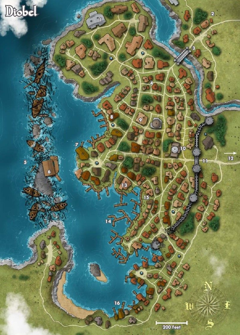 Map Of The Town Of Diobel Pathfinder Golarion D D Maps Jdr