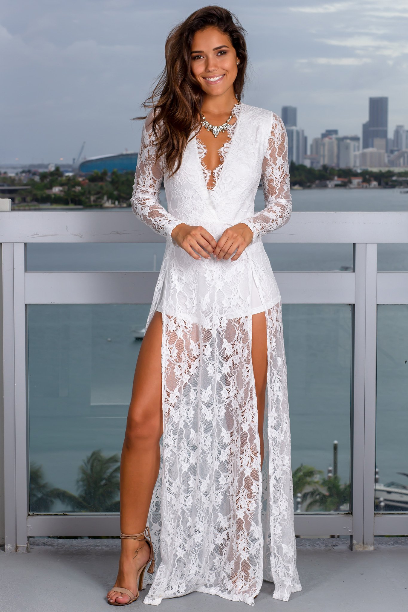 White Lace Maxi Romper With Slits Lace Maxi Romper White Lace Maxi Lace Maxi [ 2047 x 1365 Pixel ]
