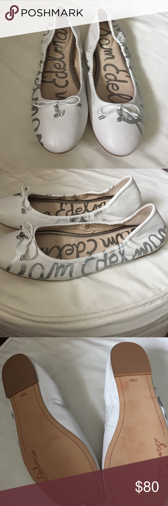 08473dbaab93d2 Sam Edelman white flats Sam Edelman Felicia ballet flats. White with silver  signature. Never been worn Sam Edelman Shoes Flats   Loafers