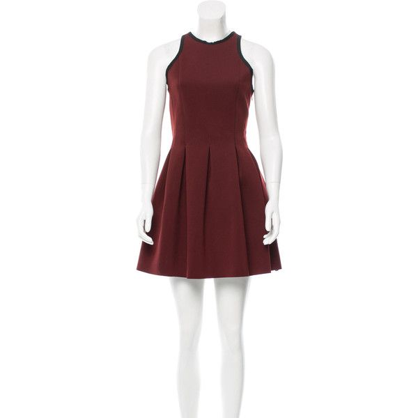 Pre-owned T by Alexander Wang Pleated A-Line Dress ($85) ❤ liked on Polyvore featuring dresses, red, red sleeveless dress, pre owned dresses, a line silhouette dress, a line dress and pleated a line dress