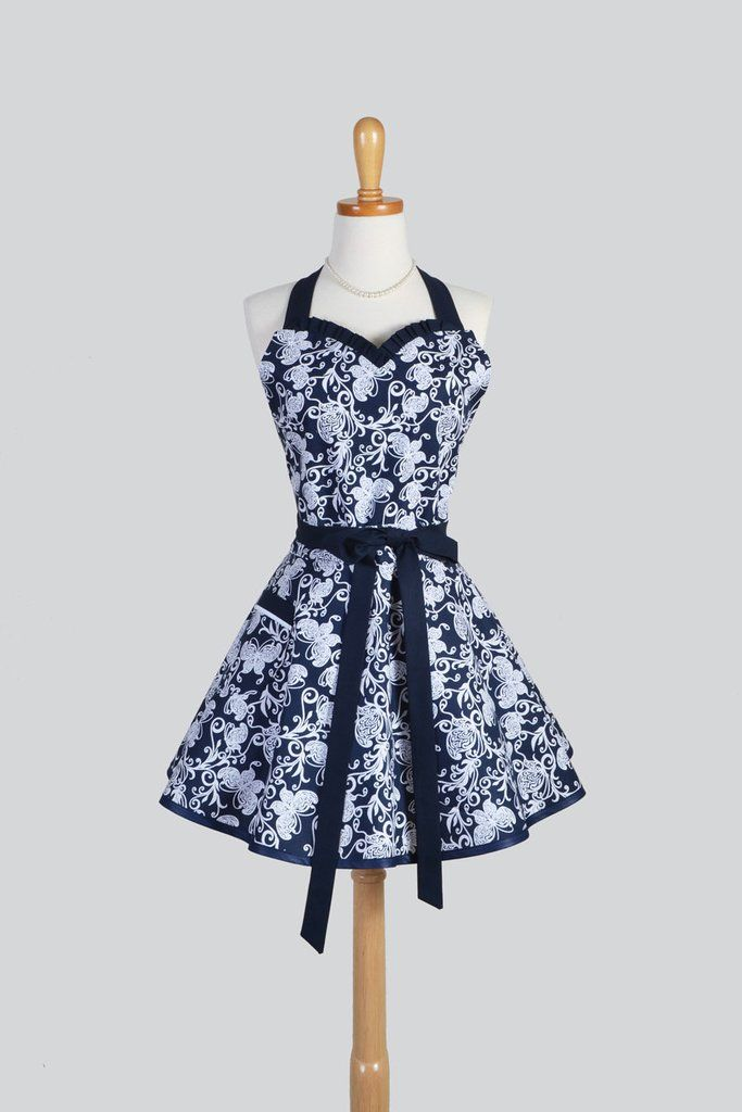 Sweetheart - Flirty Indigo Navy Blue and White Butterfly Womens Pinup Apron - Creative Chics - 1