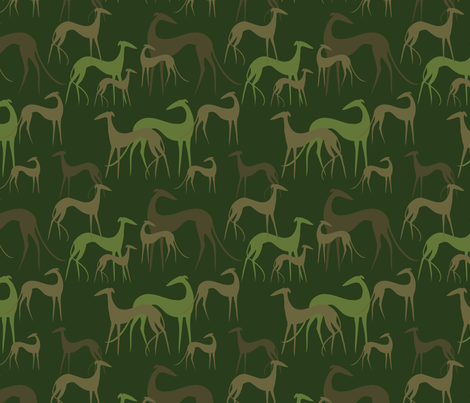 Sighthounds green fabric by lobitos on Spoonflower - custom fabric