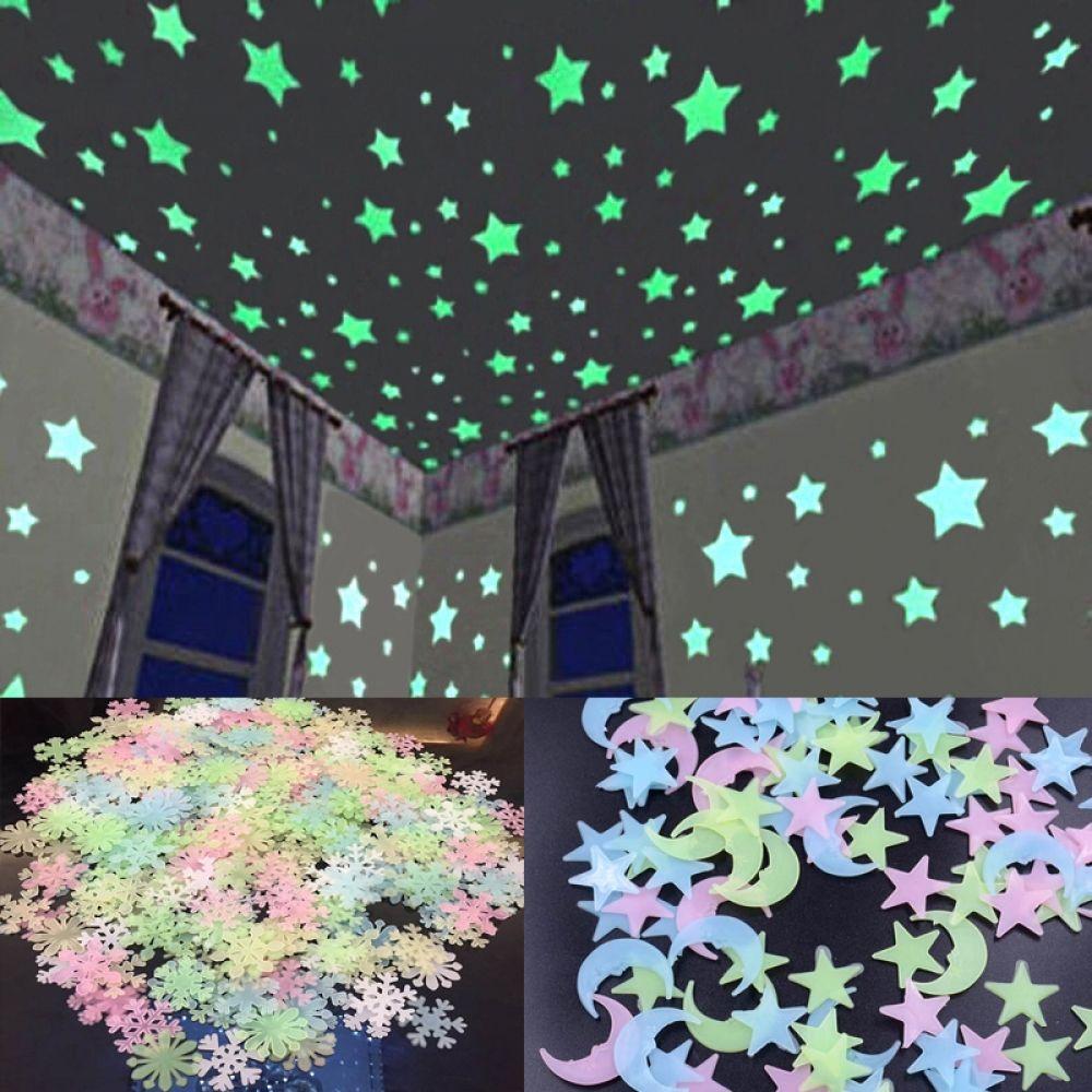Pegatinas Fluorescentes 3d De Almacenamiento De Energía De Estrella Y Luna Que Brillan En La Oscurida En 2020 Etiqueta De La Pared Pegatinas De Pared Decoración Casera