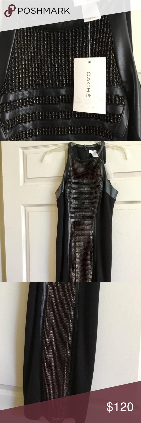 Cache blackgold dress wmesh sz nwt party nwt my posh closet