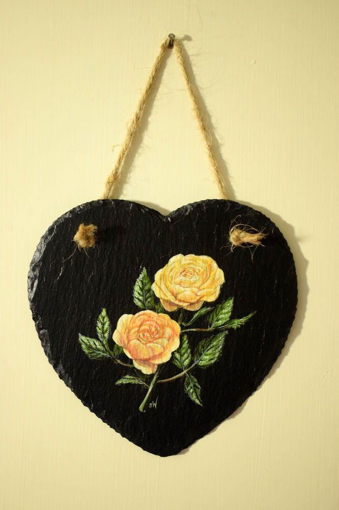 Yellow Rose Hand Painted Slate Wall Art Decoration, Heart Shaped ...