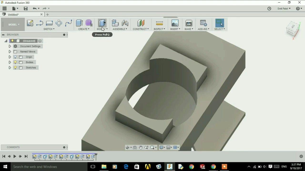 Auto Desk Fusion 360 Extrude Press Pull Tutorial 2 Extrude Tutorial Desk