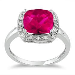 call me weird, but i want a ruby!  Miadora 10k White Gold Created Ruby and 1/10ct TDW Diamond Ring (G-H, I2)
