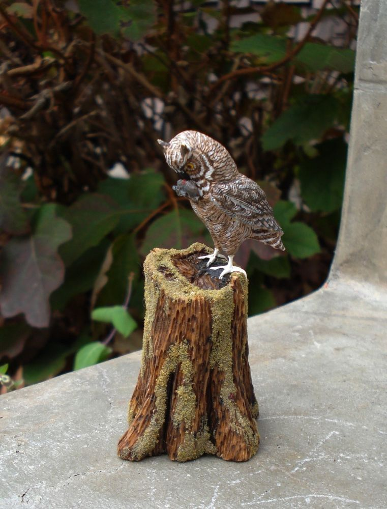 RARE FRANK BALESTRIERI SIGNED CARVED MINIATURE OWL MOUSE STUMP IGMA ART HP 1992  #IGMAARTISANFELLOW