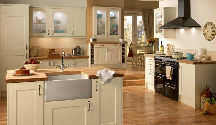 Homebase Portland - Cream Units and Beech worktop | Home Ideas ...