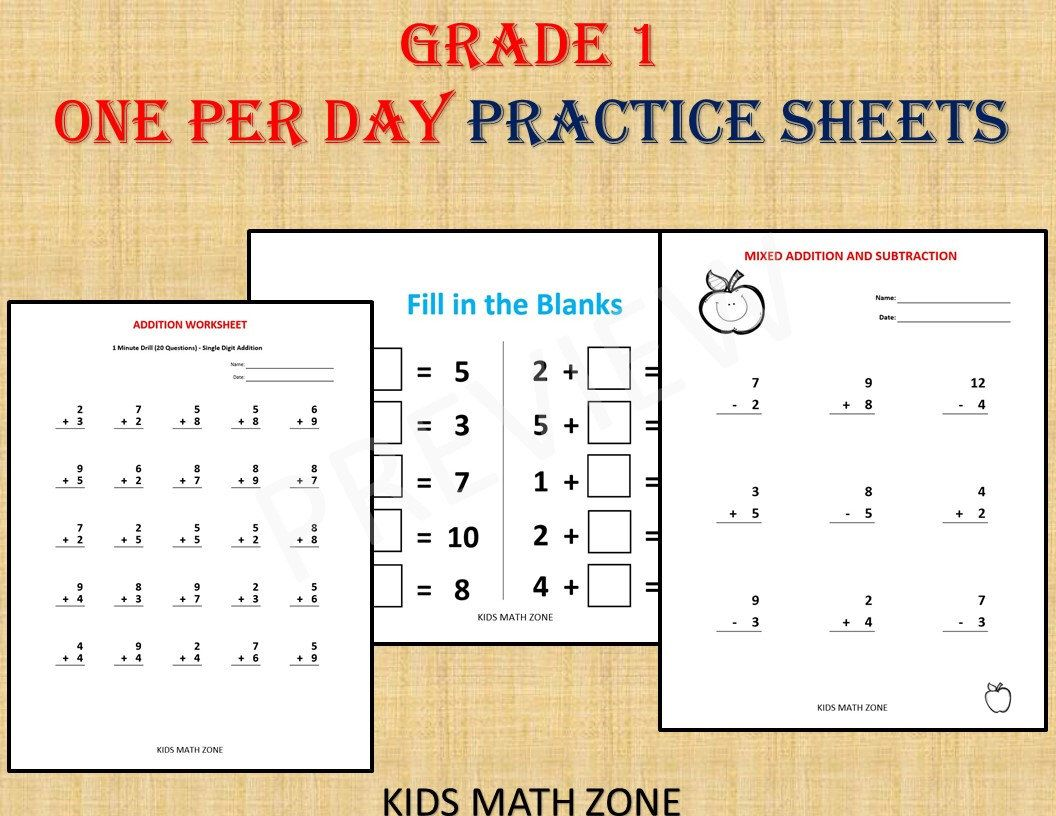 Grade 1 Math Workbook One Per Day Over 120 Math