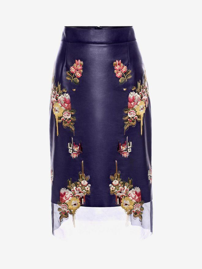 Юбка Из Перчаточной Кожи с Цветочной Вышивкой Для Женщин – делайте покупки в официальном онлайн-магазине культовой модной марки Alexander McQueen.