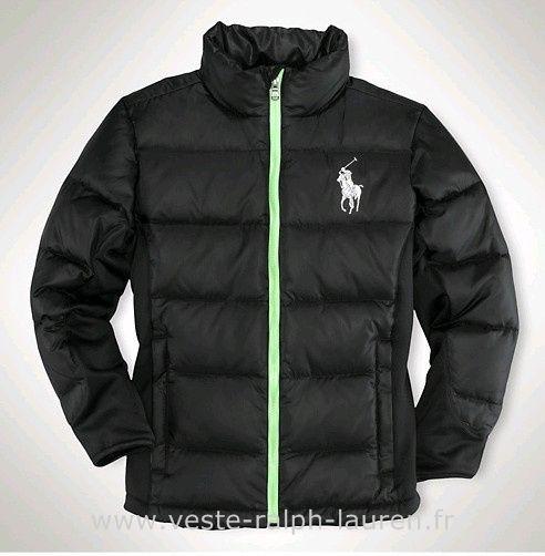 Polo officiel - Ralph Lauren doudoune hommes pas cher 2013 big pony coton  casual noir Ralph