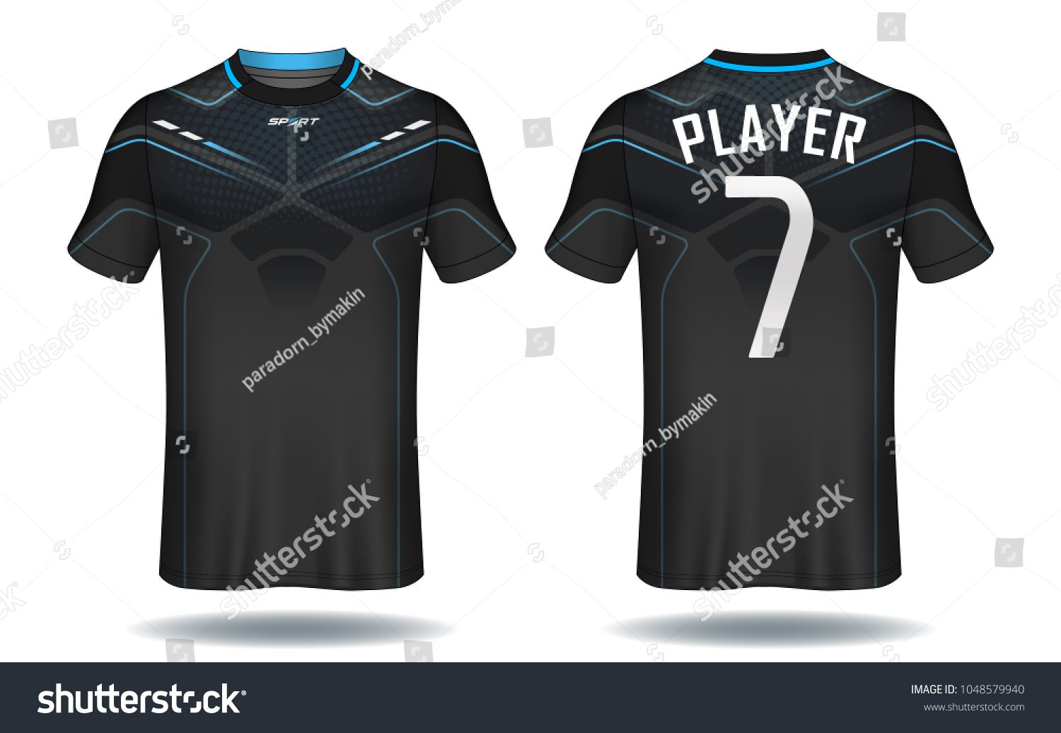 b9c1efaf2f4 Soccer jersey template.Blue and black layout sport t-shirt design ...