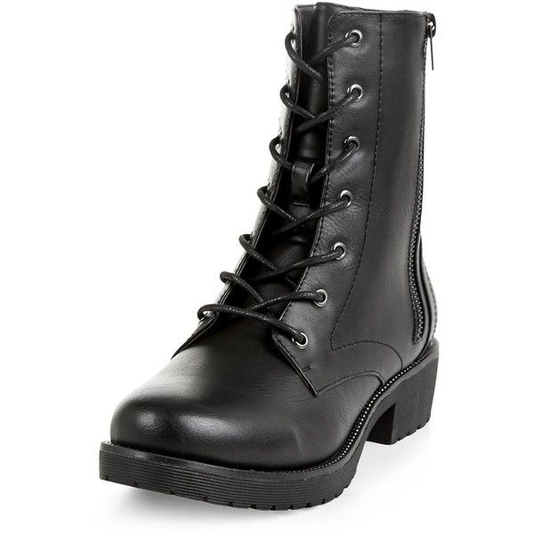Black Faux Leather Stud Trim Lace Up Boots (£30) ❤ liked on Polyvore featuring shoes, boots, black, laced boots, lace up shoes, black zipper boots, black boots and laced up boots